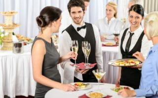 catering servers at wedding or formal banquet cocktail hour - 1024