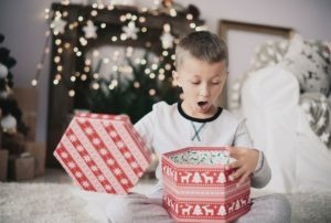 Christmas gift hunt surprised boy
