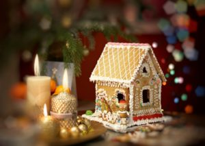 Traditional Christmas gingerbread house.