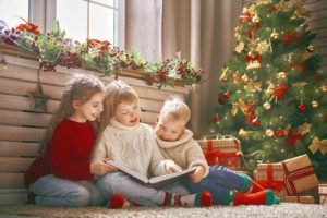 Children enjoying Christmas storytime.