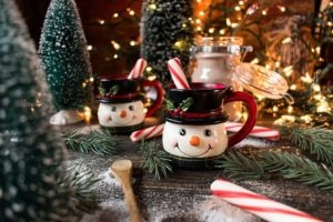 Christmas hot cocoa Frosty the Snowman mugs