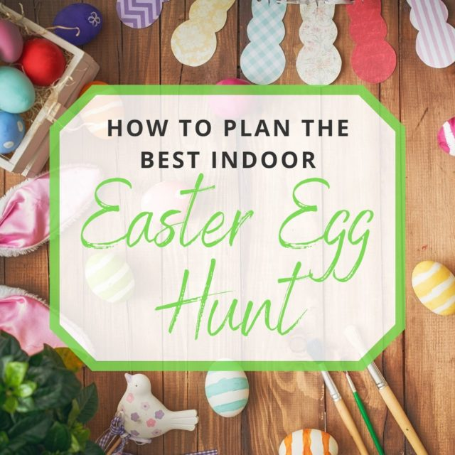 photo of Easter eggs, paint brushes, and indoor easter decorations
