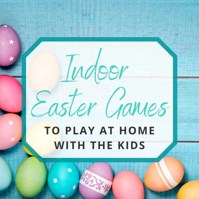 colorful easter eggs laying on a teal wood background