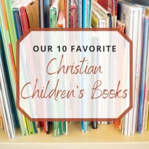 christian children's books in a shelf