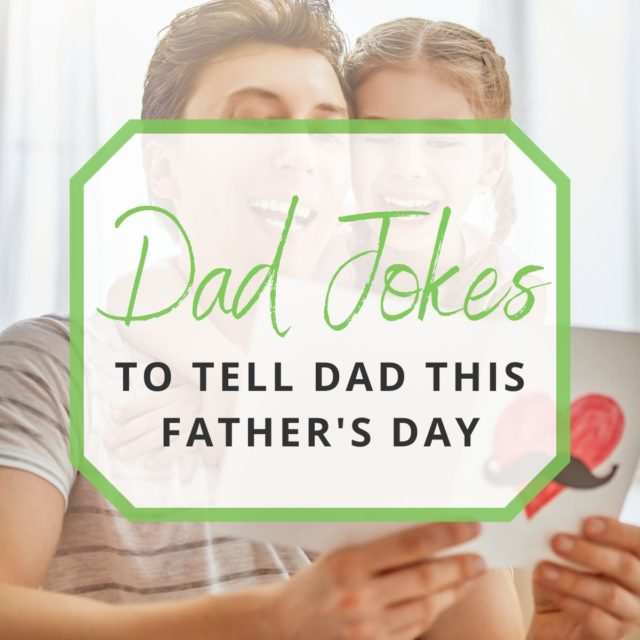 father and daughter laughing while reading Father's Day card