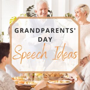 grandparents making a speech in front of family