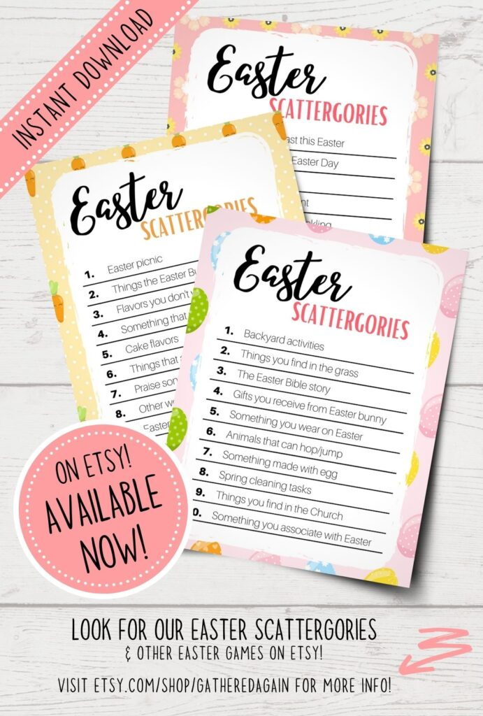 Easter scattergories product on Etsy shop
